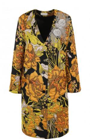 Пальто свободного кроя с контрастной отделкой Dries Van Noten. Цвет: желтый