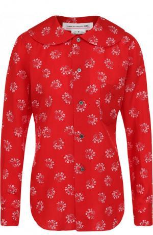 Блуза из вискозы с контрастным принтом Comme des Garcons GIRL. Цвет: красный