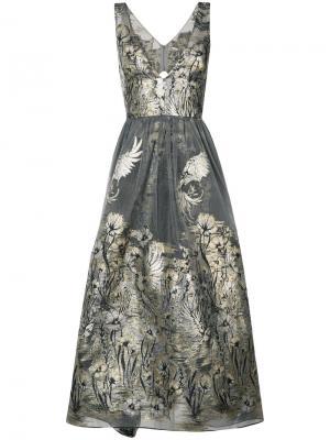 Платье с цветочным узором металлик Marchesa Notte. Цвет: серый