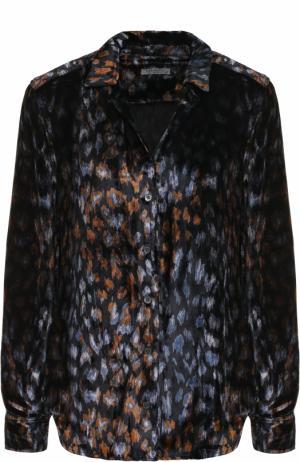 Бархатная блуза прямого кроя с принтом Equipment. Цвет: темно-синий