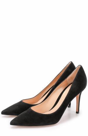Замшевые туфли Gianvito 85 на шпильке Rossi. Цвет: черный