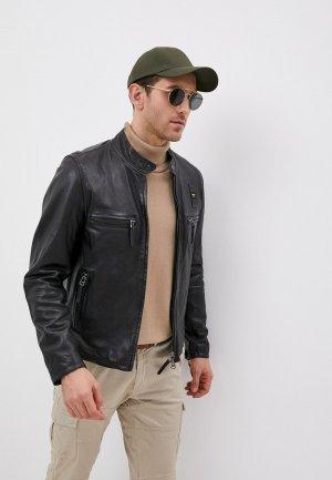 Куртка кожаная Blauer USA. Цвет: черный