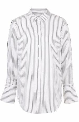 Хлопковая блуза свободного кроя в полоску Equipment. Цвет: серый