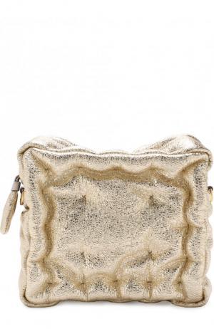 Сумка Chubby Cube из металлизированной кожи Anya Hindmarch. Цвет: золотой