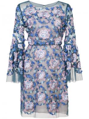 Платье с цветочной вышивкой Marchesa Notte. Цвет: синий