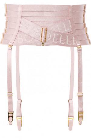 Пояс для чулок с логотипом бренда Bordelle. Цвет: розовый