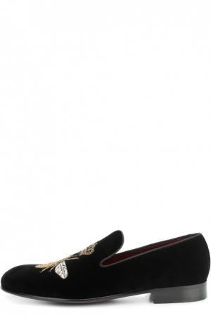 Бархатные слиперы Milano с вышивкой Dolce & Gabbana. Цвет: черный