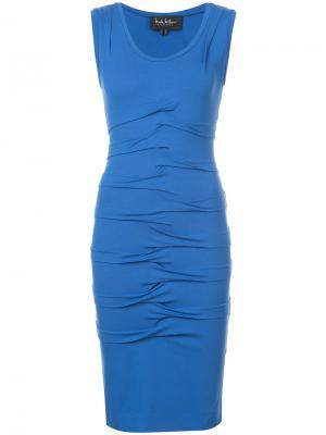 Присборенное платье длиной до колена Nicole Miller. Цвет: синий