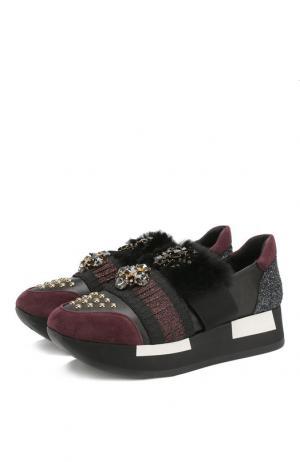 Комбинированные кроссовки с отделкой из меха кролика и стразами Baldan. Цвет: бордовый