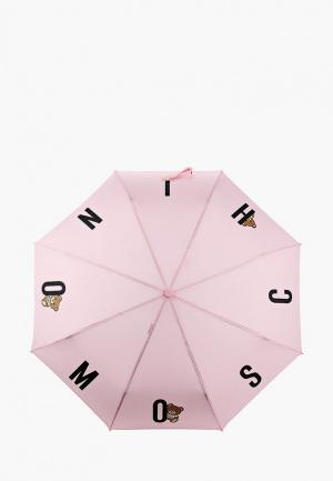 Зонт складной Moschino. Цвет: розовый