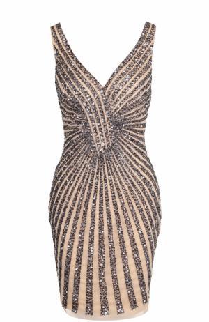 Приталенное мини-платье с вышивкой Basix Black Label. Цвет: бежевый