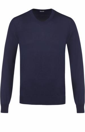 Хлопковый пуловер тонкой вязки malo. Цвет: темно-синий