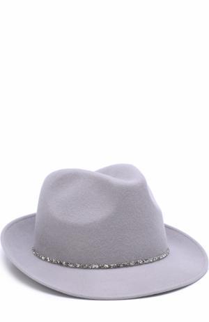 Шерстяная шляпа с отделкой стразами Eugenia Kim. Цвет: светло-серый