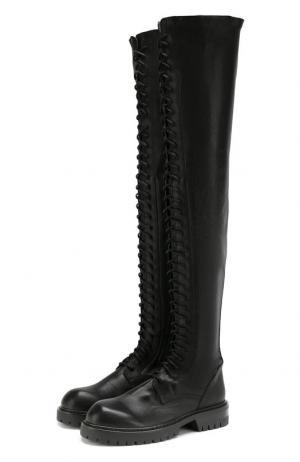 Кожаные ботфорты на шнуровке Ann Demeulemeester. Цвет: черный