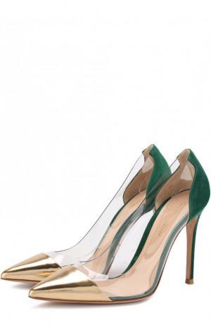 Комбинированные туфли Plexi на шпильке Gianvito Rossi. Цвет: зеленый