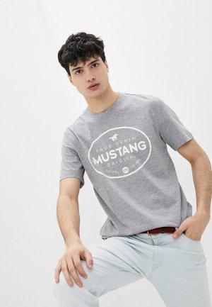 Футболка Mustang. Цвет: серый