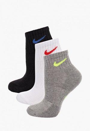 Носки 3 пары Nike. Цвет: разноцветный