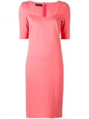 Платье с вырезом-ковш Les Copains. Цвет: розовый и фиолетовый
