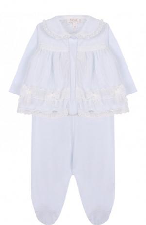 Хлопковый комплект из брюк и распашонки Aletta. Цвет: голубой