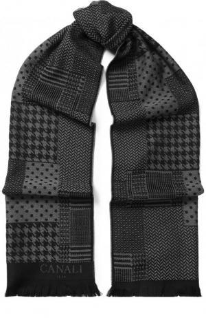 Шерстяной шарф с бахромой Canali. Цвет: темно-серый