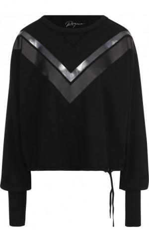 Хлопковый пуловер с круглым вырезом и декоративной отделкой Roque. Цвет: черный