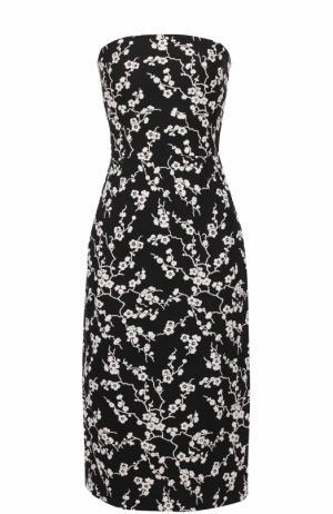 Приталенное платье-бюстье с цветочной отделкой Tara Jarmon. Цвет: черный