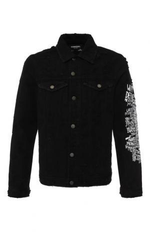 Джинсовая куртка на пуговицах с принтом Dom Rebel. Цвет: черный