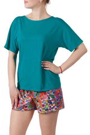 Пижамный комплект Sonett. Цвет: оранжево-изумрудный
