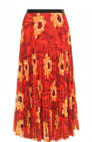 Плиссированная юбка-миди с принтом Dries Van Noten. Цвет: красный
