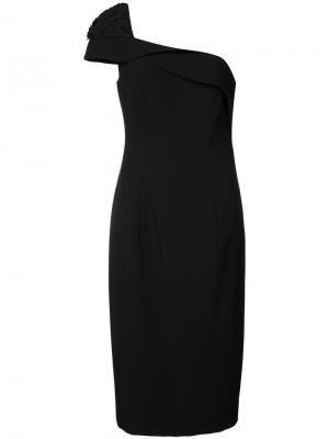 Платье на одно плечо Black Halo. Цвет: чёрный