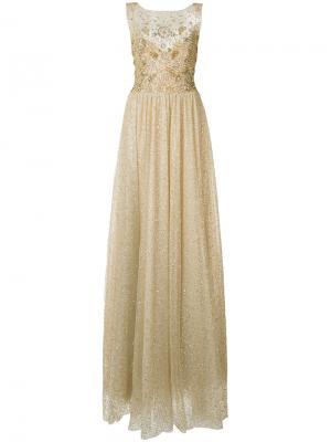 Блестящее платье Marchesa Notte. Цвет: металлический