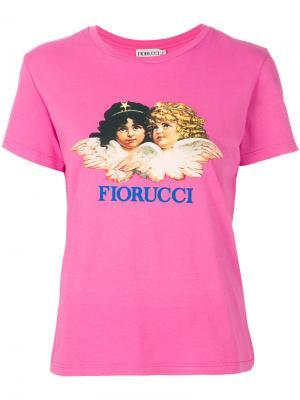 Футболка с ангелом Fiorucci. Цвет: розовый и фиолетовый