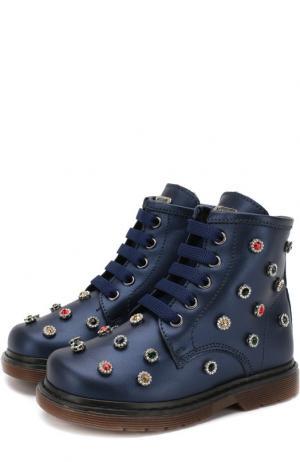 Кожаные ботинки с внутренней меховой отделкой и декором Missouri. Цвет: синий