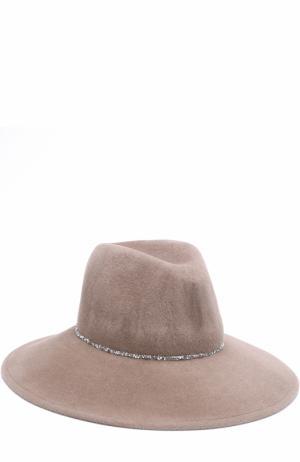 Фетровая шляпа с отделкой стразами Eugenia Kim. Цвет: бежевый