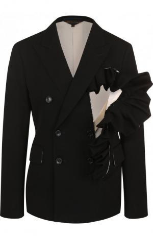 Однотонный шерстяной жакет с оборками Comme des Garcons. Цвет: черный