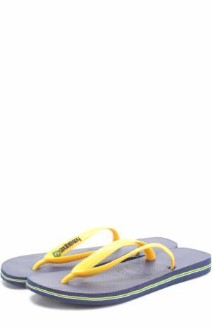 Резиновые шлепанцы Havaianas. Цвет: темно-синий