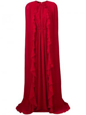 Длинное платье  с рюшами Giambattista Valli. Цвет: красный