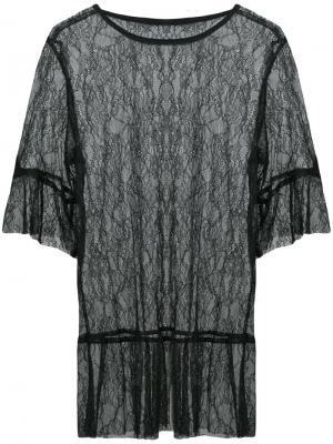 Кружевная полупрозрачная блузка Anna Sui. Цвет: чёрный