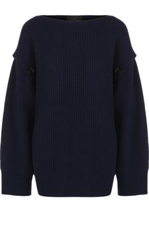Однотонный пуловер из смеси шерсти и кашемира с воротником-лодочка Erika Cavallini. Цвет: синий