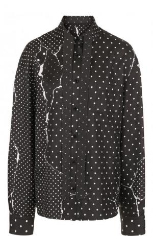 Шелковая блуза свободного кроя с принтом Haider Ackermann. Цвет: черно-белый