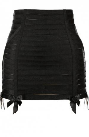 Эластичная юбка-корсет на молнии Bordelle. Цвет: черный