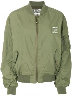 Куртка-бомбер с карманами в стиле карго Fiorucci. Цвет: зелёный