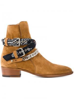 Ботинки с ремешками-банданами Amiri. Цвет: коричневый
