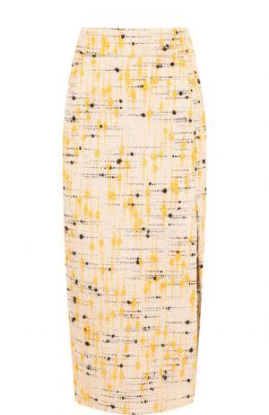 Вязаная юбка с высоким разрезом Erika Cavallini. Цвет: бежевый