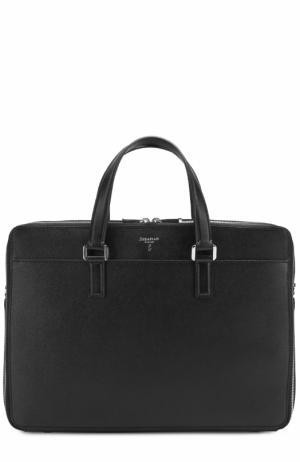 Кожаная сумка для ноутбука с двумя отделениями на молнии Serapian. Цвет: черный
