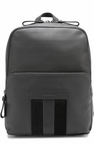 Кожаный рюкзак с внешним карманом на молнии Bally. Цвет: черный
