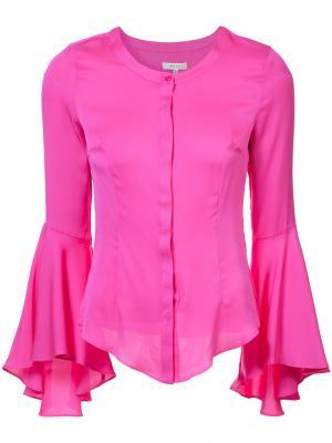Блузка с расклешенными манжетами Milly. Цвет: розовый и фиолетовый