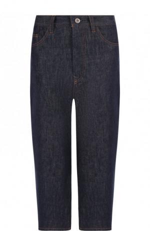 Укороченные джинсы с контрастной прострочкой Yohji Yamamoto. Цвет: синий