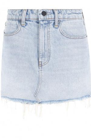 Джинсовая мини-юбка с бахромой Denim X Alexander Wang. Цвет: голубой