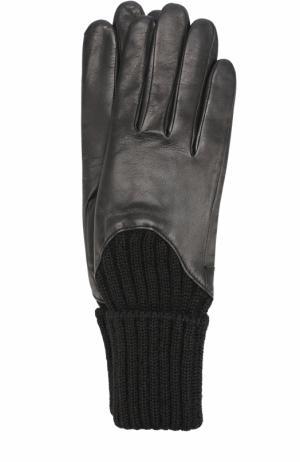 Кожаные перчатки с шерстяной отделкой Agnelle. Цвет: черный